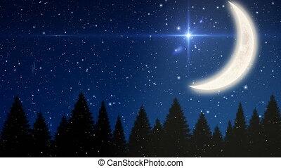 étoilé, croissant, nuit, ciel lune, noël, neige, tomber