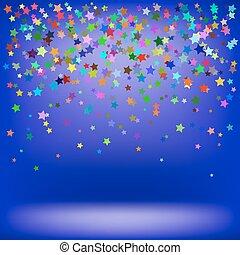 étoilé, ensemble, modèle, coloré, stars.