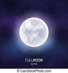 étoilé, entiers, ciel, nuit, lune