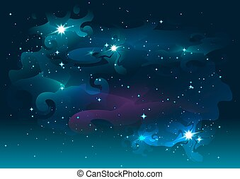 étoilé, espace, nuit, étoiles, sky.