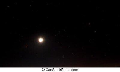 étoilé, moon., timelapse, ciel