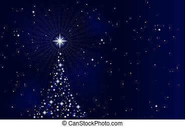 étoilé, nuit, arbre, noël, paisible