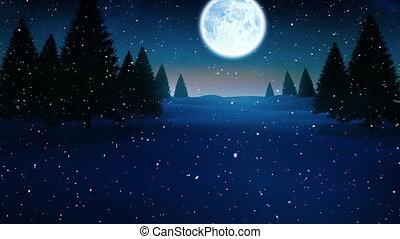 étoilé, nuit, ciel lune, noël, neige, tomber