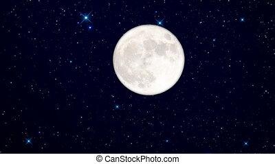 étoilé, pleine lune, nuit