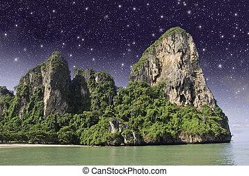 étoilé, sur, nuit, thaï, île
