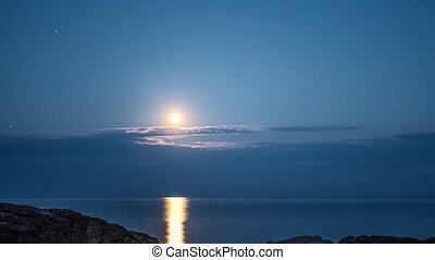 étoilé, timelapse, ciel, mer lune, nuit