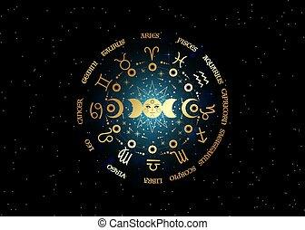 étoilé, vecteur, lune, triple, phases, zodiaque, circle., soleil, arrière-plan noir, païen, isolé, symbole, signes, lune, système, wiccan, planètes, énergie, galaxie, or, roue, orbites, déesse