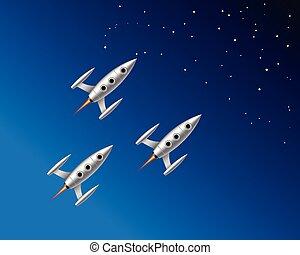étoilé, voler, ciel, trois, illustration, vecteur, fusées