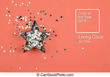 étoile, à, scintillements, sur, corail vivant, arrière-plan.
