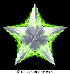 étoile, aflame, argent