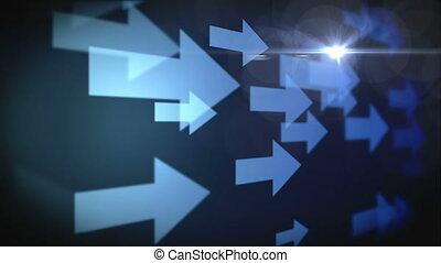 étoile, animation, errant, direction, même, flèches