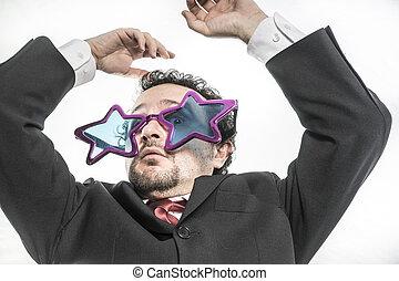 étoile, argent,  pop, inquiet, Nerveux, homme affaires, crier, lunettes