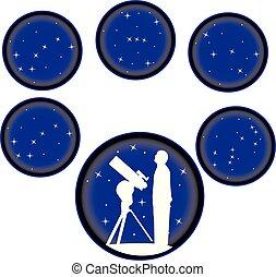 étoile, astromomie, fixer, icônes