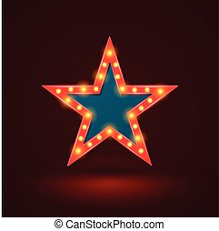étoile, bannière, lumière, retro