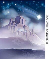 étoile, bethlehem, illustration, noël