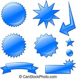 étoile, bleu, conceptions, éclater