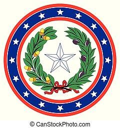 étoile, bleu, texas, fond, cercle, blanc rouge
