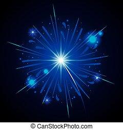 étoile bleue, éclatement, feux artifice, forme, arrière-plan noir