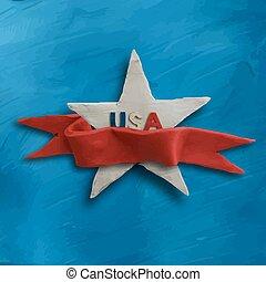 étoile bleue, arrière-plan rouge, ruban blanc