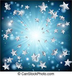 étoile bleue, explosion, fond