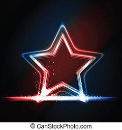 étoile bleue, formé, cadre, incandescent, blanc rouge