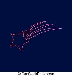 étoile bleue, gradient, signe., sombre, arrière-plan., couleurs, vector., violet, ligne, tir, rouges, icône
