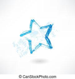 étoile bleue, grunge, icône