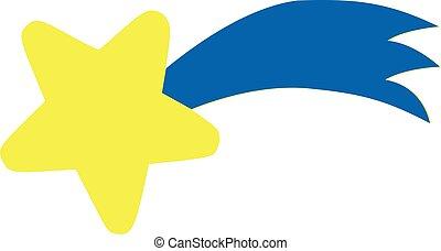 étoile bleue, -, jaune, queue, tomber