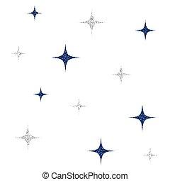 étoile bleue, modèle, seamless, fond, blanc, scintillement, argent