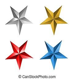 étoile bleue, or, étoiles, argent, rouges
