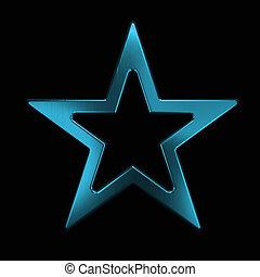étoile bleue, or, render, illustration, icon., 3d