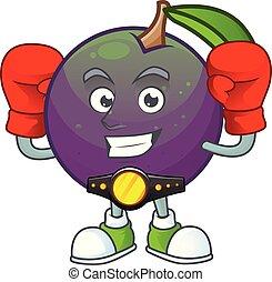 étoile, boxe, pomme, caractère, mascotte, dessin animé
