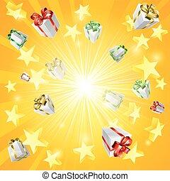 étoile, cadeau, fond