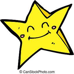 étoile, caractère, dessin animé, heureux
