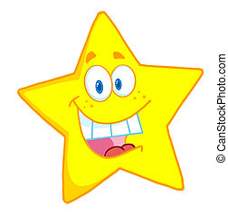 étoile, caractère, dessin animé, mascotte