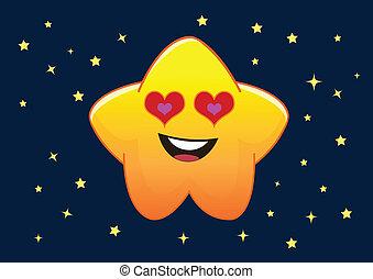 étoile, caractère, illustration, vecteur, dessin animé, aimer