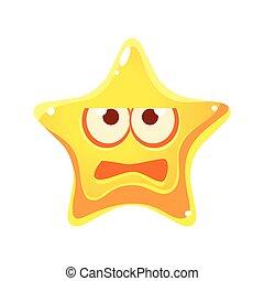 étoile, caractère, type caractère jaune, effrayé, dessin animé