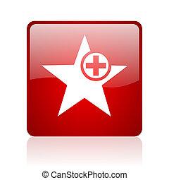 étoile, carré rouge, lustré, toile, icône, blanc, fond