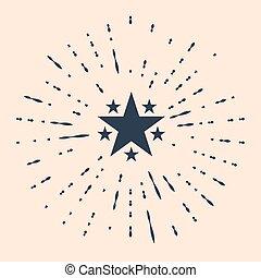 étoile, cercle, classement, mieux, résumé, récompense, symbole., illustration, dots., isolé, favori, aléatoire, arrière-plan., noir, vecteur, icône, beige