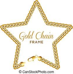 étoile, chaîne or, étoilé, couronne, forme, frame., frontière, lobster.