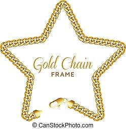 étoile, chaîne or, étoilé, couronne, lock., forme, homard, frontière, frame.