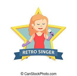 étoile, chanteur, femme, emblème, retro