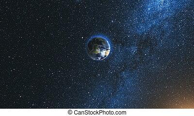 étoile, ciel, contre, planète, réaliste, la terre