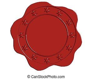 étoile, cire, vecteur, cachet, frontière, rouges