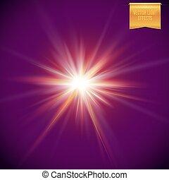 étoile, clair, burst., incandescent, réaliste, soleil