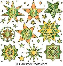 étoile, coloré, collection