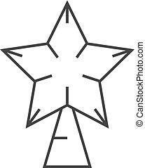 étoile, contour, -, arbre, noël, icône