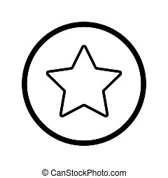 étoile, contour, simple, star., illustration, vecteur, noir, icon., blanc, linéaire