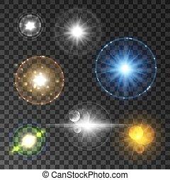étoile, cornet alimentation soleil, effet, lentille, lumière, briller