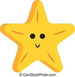 étoile, couleur, illustration, dessin animé, vecteur, jaune, cinq-pointu, sourire, ou